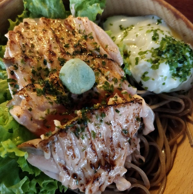 Great Mentaiko Salmon Soba With Onsen Egg ($10.90)