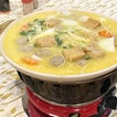 This is steamboat, but atypical because of the  1) Pumpkin Soup Base  2) Ingredients such as beancurd with a juicy meat filling in the centre and meatballs that has another inner meat filling 3) Servers who dump the ingredients for you in the order it should cook after you finish each 'phase'.