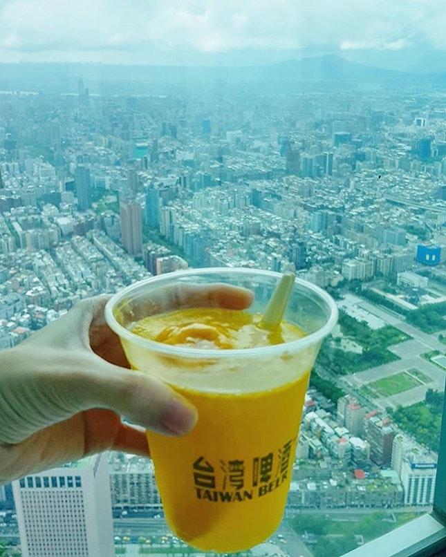 [Taiwan, Taipei🇹🇼] Great view while Enjoying Taiwan beer with mango sorbet at lvl 86 in Taipei 101.