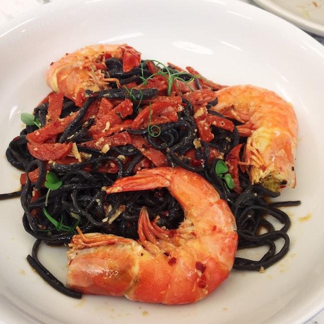 Prawn & Salami Aglio Olio ($18)