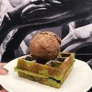 Green Tea Mini Waffle + Single Scoop Chocolate ($6)