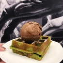 Green Tea Mini Waffle + Single Scoop Chocolate ($6)