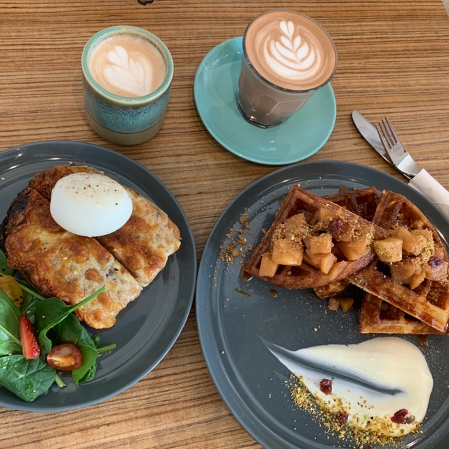 Croque Monsieur & Apple Cinnamon Waffles