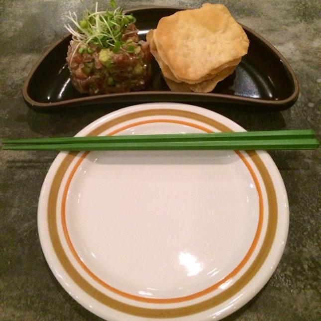 Avocado-Wasabi Tuna Tartar & Flour Crisps