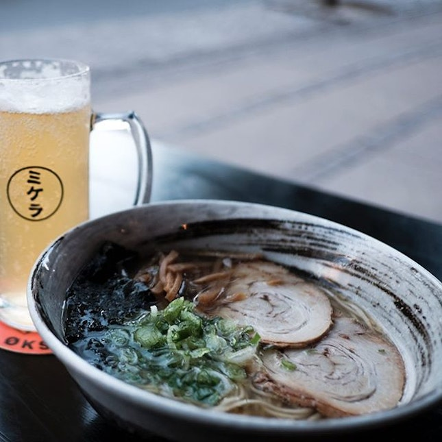 Their signature broth with Yuzu; I paired it with the @mikkellerbeer Yuzu Gose, but of course.
