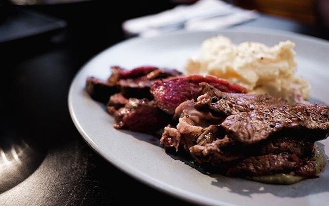 Charcoal steak.