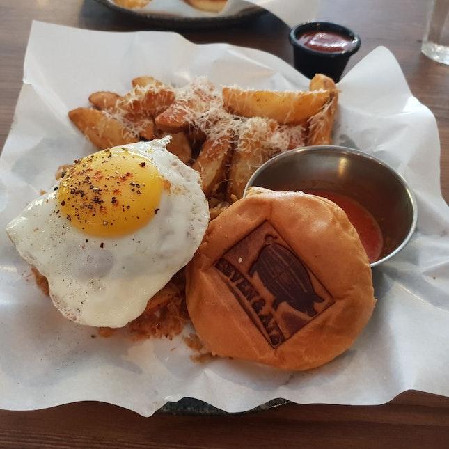 Delicious Pork Burgers In A Pub