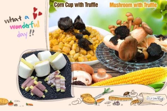 Bacon With Cheese & Truffle Mushroom And Corn