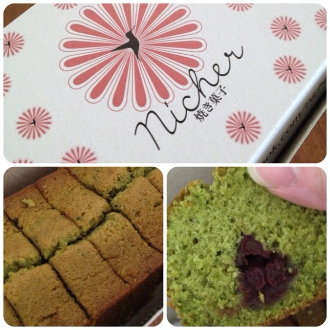 Green Tea With Red Bean Pound Cake..very Nice!