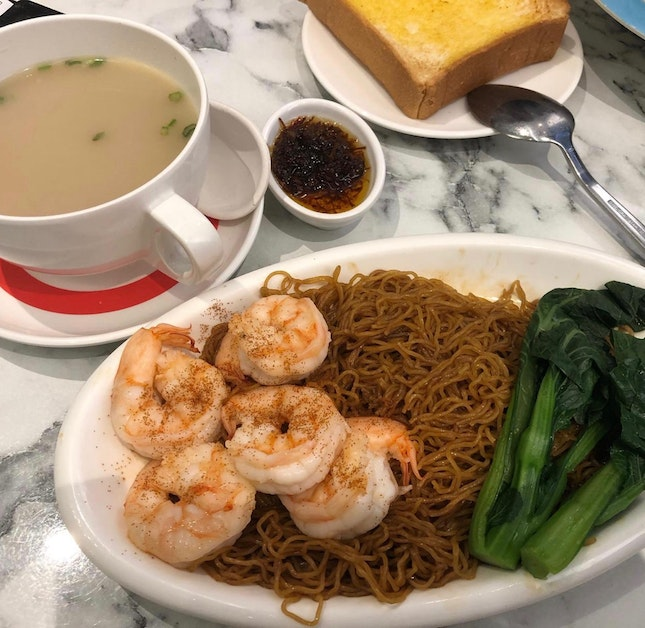 King Prawns In XO Sauce In Tossed Noodles ($11)