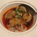 Poached Pork & Prawn Dumpling With Spicy Szechuan Vinegar Sauce