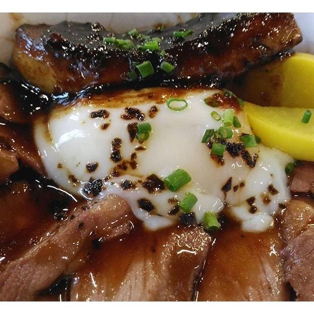 Foie Gras Truffle Yakiniku Donburi with Onsen Tamago.