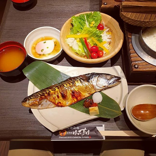 #Delicious charcoal grilled mackerel with crispy skin and tender flesh.