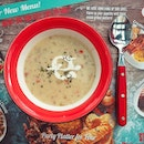 Appetizer for today's lunch; Clam chowder soup before my main course is served.