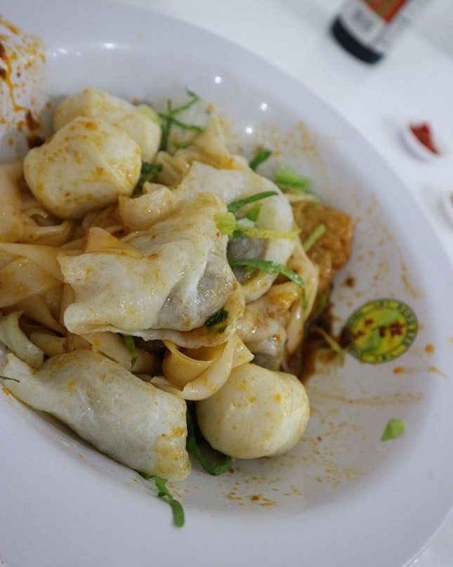 Fishball kway Teow dry with extra chilli and extra kiao ($8) finally!!