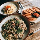 mushroom risotto, salmon carbonara, pierogies