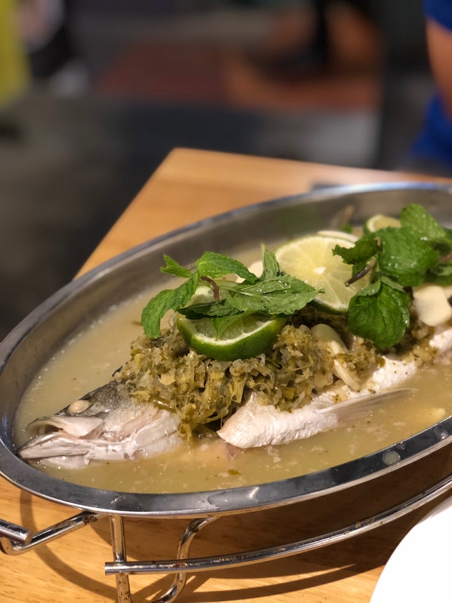 Steamed Seabass with Green Chilli Lime Sauce