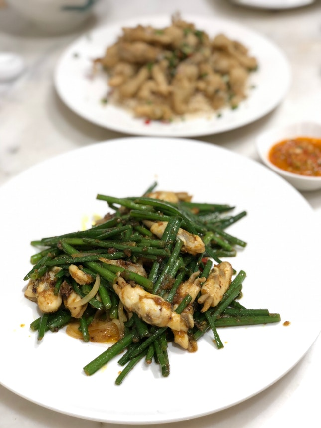 Stirfried Sambal Chives with Duotou Clams