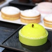 Moist pistachio teacake surrounded by citrus shortbread, green apple cream and jelly giving this apple alike dessert a burst of flavour.