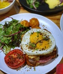 This Croque Madame sandwich boasts its very own egg for some double yolk topped on soft and fluffy bread imported from France.
