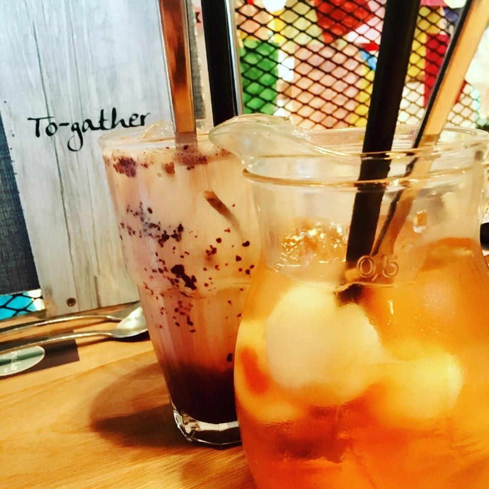 Iced Hazelnut Chocolate & Southern Lychee Tea