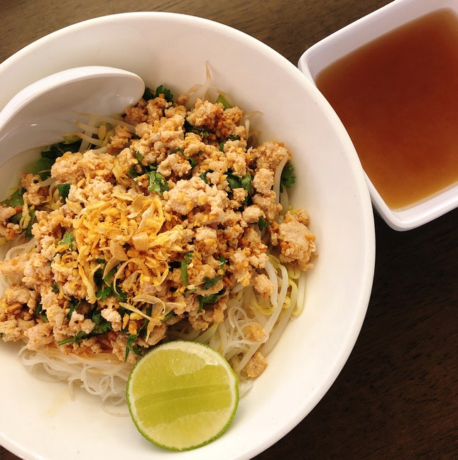 Fried Bee Hoon With Mince Pork And Nam Prik