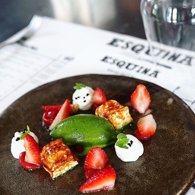 Comfortable, friendly and casual dining destination :) #dessert: Strawberries, basil sorbet with toasted marshmallows 🌈 Basil has never tasted so good!