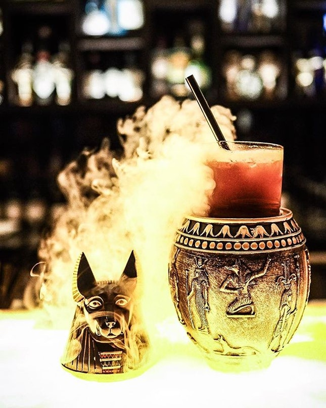 My Godly Anubis Potion @elixirbarsg made with *Ashes of God, Monkey Shoulder, Galliano Ristretto, Jackal Blood & Chocolate Bitter* .