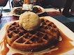 Butterscotch Ice-cream Waffles With Gula Melaka Drip