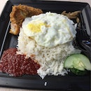 Nasi Lemak With Chicken Wing And Egg