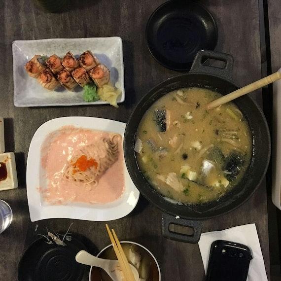 Salmon Kabuto Soup ($15.90) + Wafu Spaghetti ($10.90) + Salmon Aburi ($14.90)