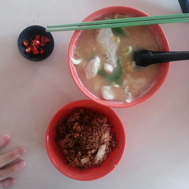 Sliced Fish Soup + Yam Rice ($4.50)