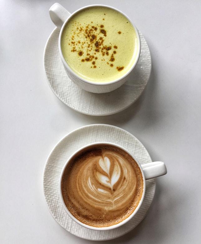 Flat White ($6) & Organic Turmeric Latte ($8)