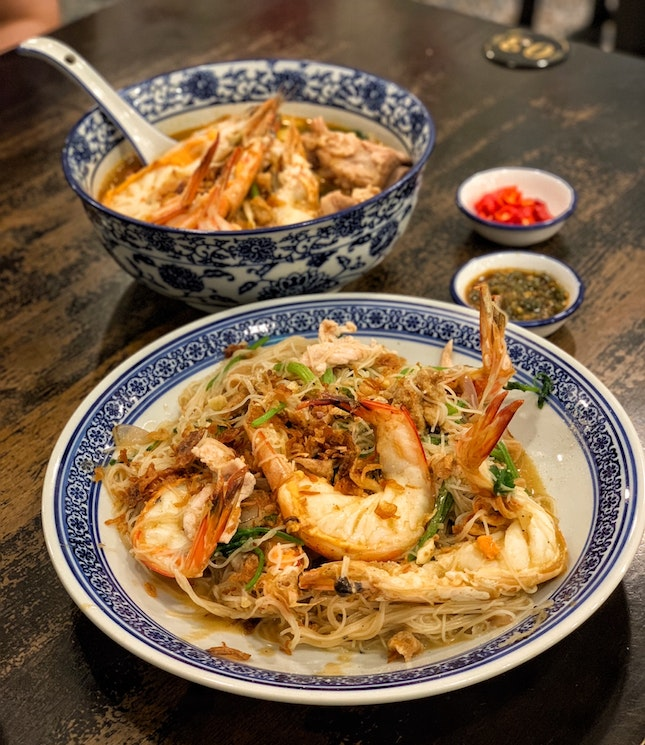 Da Shi Jia Wok-Fried Big Prawn White Bee Hoon ($16.80) & Signature Prawn Noodle Soup (from $5.80)
