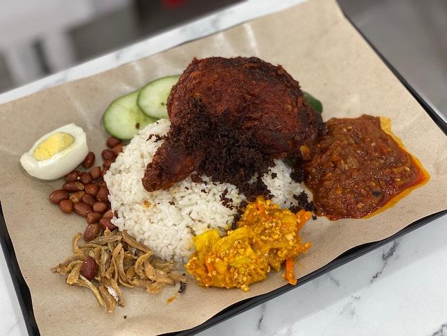 Nasi Lemak with Ayam Goreng Berempah