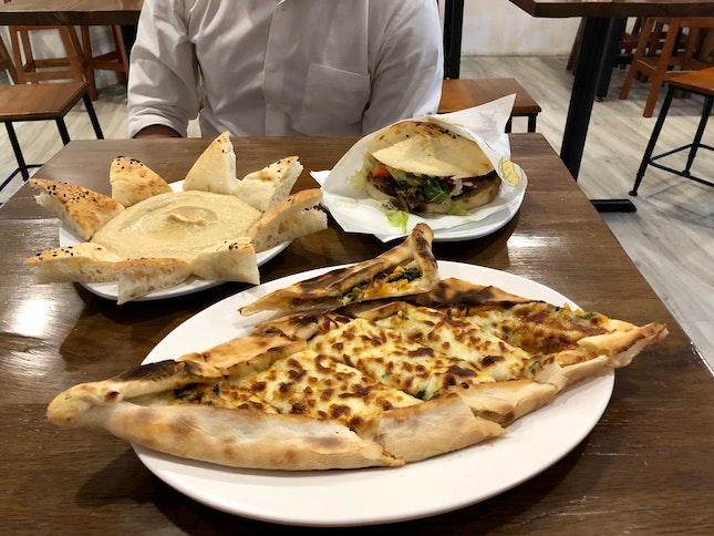 Mixed Pide, Hummus And Beef Tombik