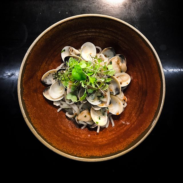 Open Door Policy - Invited Tasting - Mains - Spaghetti Alle Vongole (💵S$28)  Rice-flour spaghetti cooked al dente, tossed in a creamy Japanese white miso sauce & a generous serving of sweet white calms, topped with Italian parsley.