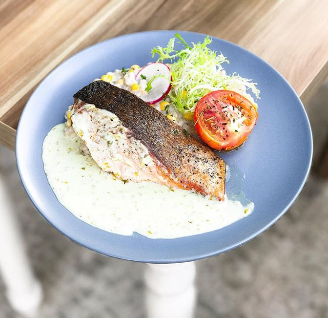W39 Bistro & Bakery - HOSTED TASTING - Main Dishes - Pan-Fried Salmon (💵S$22)  Norwegian Salmon, barley & corn Risotto, capers sauce & side salad.