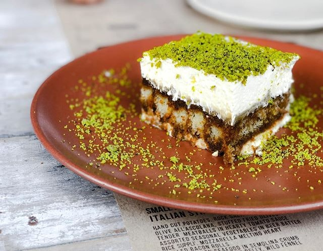 """iO Italian Osteria @italianosteriasg - i Dolci/Desserts - Pistachio Tiramisu (💵S$14) 🥄 • ACAMASEATS & GTK💮: Tiramisu which means """"Pick Me Up"""" normally is made up off Ladyfingers dipped in Coffee & Alcohol, layered with a whipped eggs, sugar & marscarpone cheese flavoured with Cocoa."""