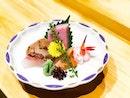 Southpaw Bar & Sushi - Omakase Take (💵S$98) - HOSTED TASTING - Sashimi Platter; Otoro 大とろ, Marinated White Tuna くろまぐろ, Tai 鯛 Seabream, Akagai 赤貝 Arkshell, Ebi 海老 Sweet Shrimp.