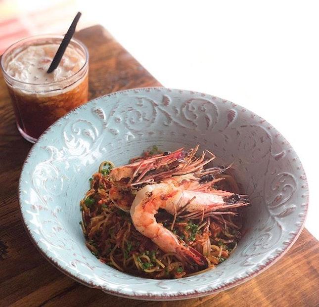 Firebake Woodfired Bakehouse & Restaurant @firebakesg - Mains - Australian Prawn Capellini Aglio Olio, Sakura Ebi (💵S$21) 🍝 .