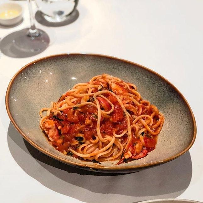 OTTO Ristorante - Pasta - Linguine all'Astice dette in Busera (Linguine Boston Lobster in Spicy Light Tomato Gravy) 💵S$42 .