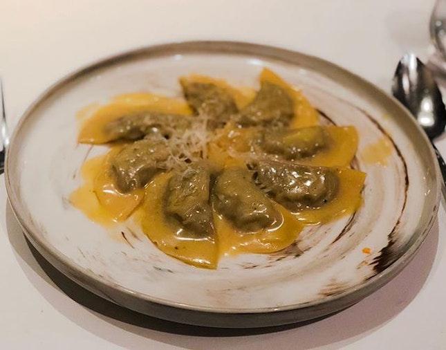 OTTO Ristorante - Pasta - Mezzelune al Brasato di Vitello con Emulsione al Parmigiano e Salvia (Homemade Veal Half-Moon with Sage and Parmesan Cheese Emulsion) 💵S$32 .