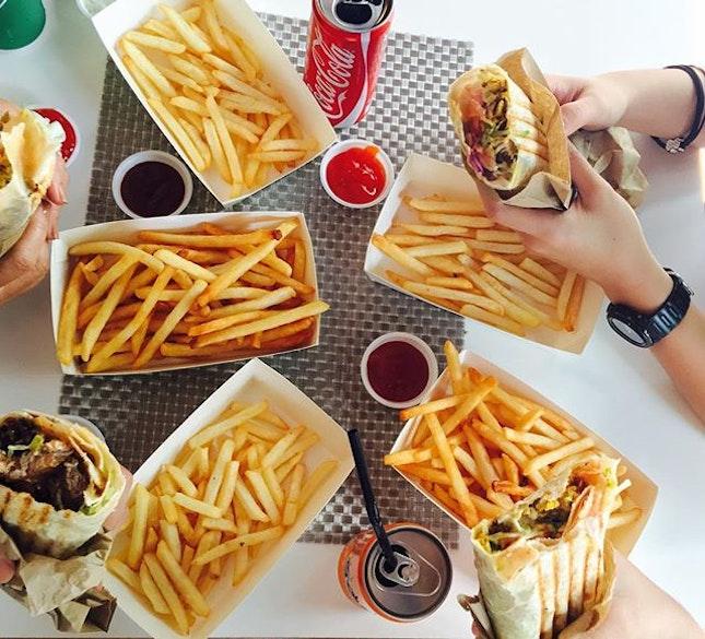 Shawarma + Falafel + Fries = Happy Eating 🍽😋 #burpple #yeyfood #hajilane #cooperativeoldiesyey