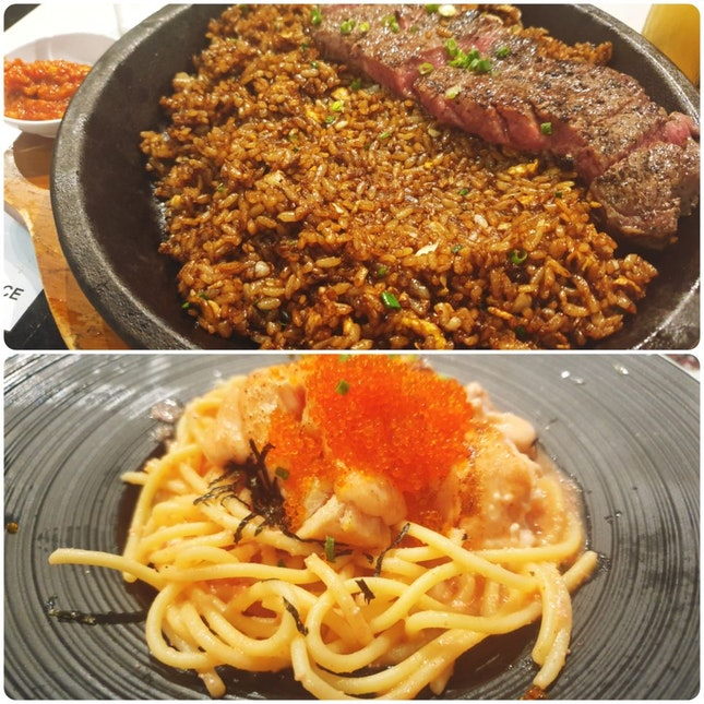 Salmon Mentaiko Pasta & Steak With Scorched Rice