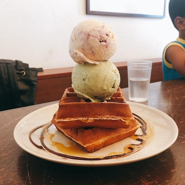 Waffle + Pistachio and PB&J Ice Cream