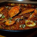Seafood #Fideua: Cooked in a Paella pan, this dish is made with noodles & seafood cooked in fish broth.