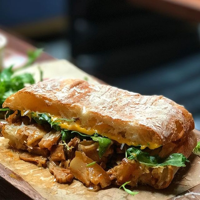 Grilled cheese panini - braised pork belly | pickled cabbage | fried potato .