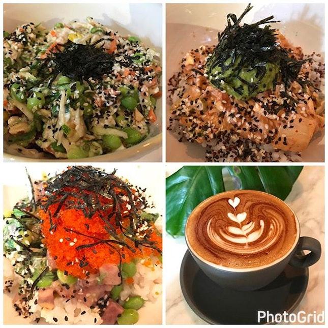 Poké bowls - with hamachi, salmon, tofu .