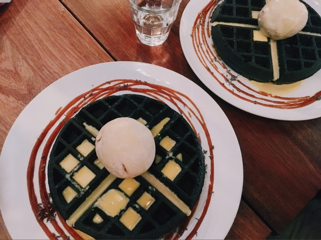 Charcoal Waffles & Salted Egg Sauce